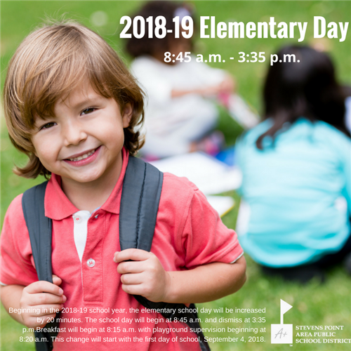 Elementary Day will Start at 8:45 a.m.